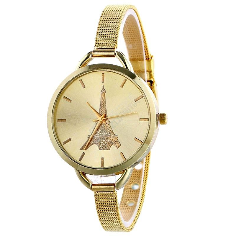 Dámské hodinky s Eiffelovkou a úzkým kovovým páskem - zlatá - Inzerce.cz 3959b60be6